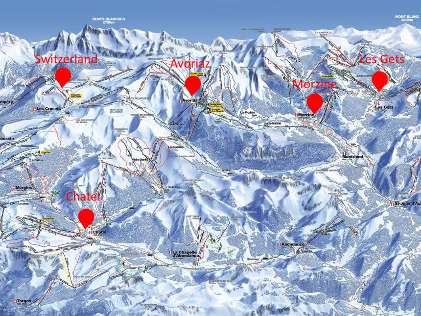 Large map of Guided ski holidays at The Ski Gathering