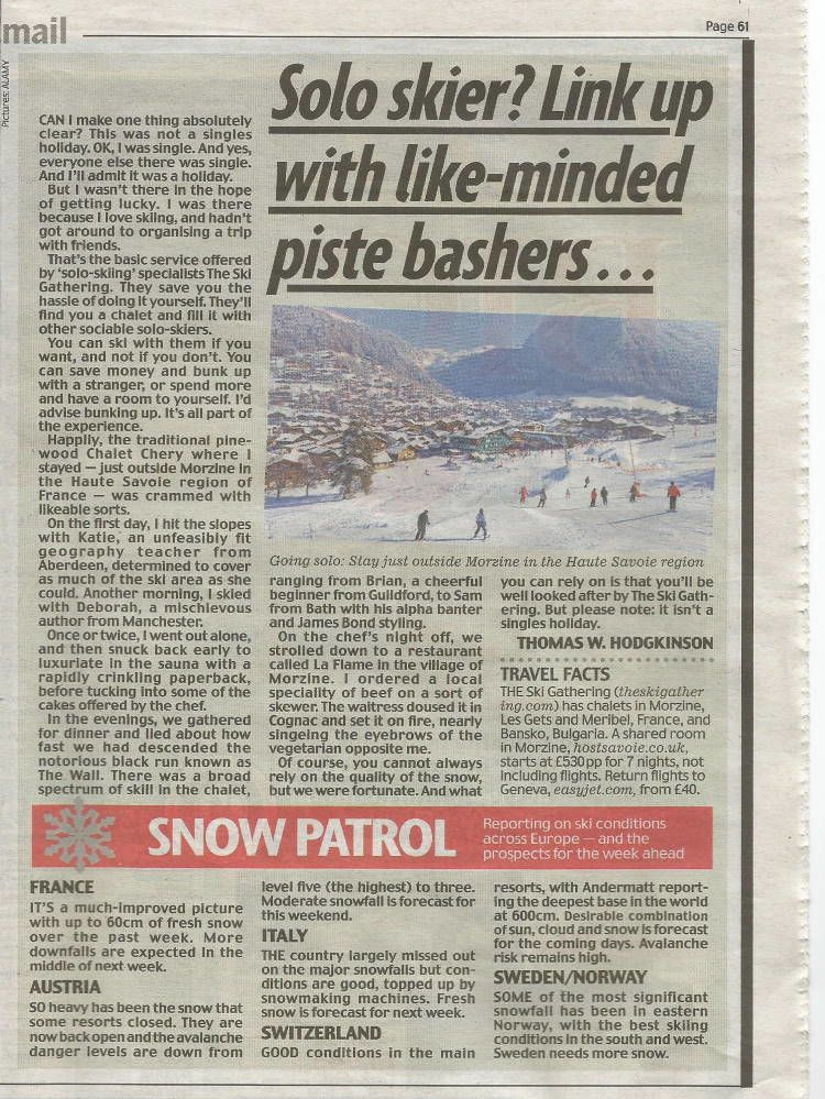 Daily Mai press clipping for The Ski Gathering
