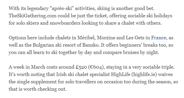 Irish Times Feb 2017 press clipping for The Ski Gathering