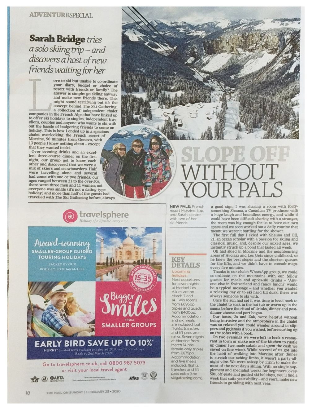 Mail on Sunday Travel press clipping detail number two for The Ski Gathering