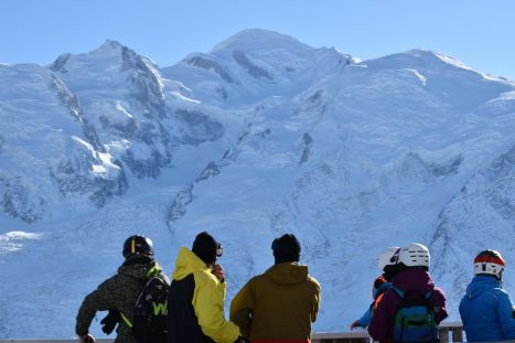 Skiers taking in the Chamonix View