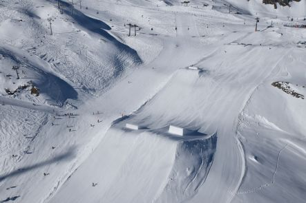 A small sample of the snowpark jumps in Kaprun