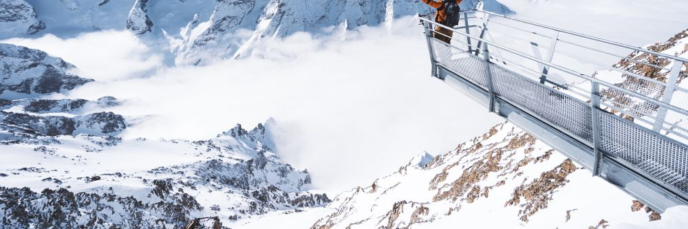 A person on Belvedere Des Ecrins in Les Deux Alpes