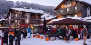 Piste-side drinks in Les Gets ski resort