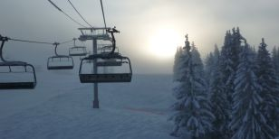 Empty Ski lifts shot by Solo Skier