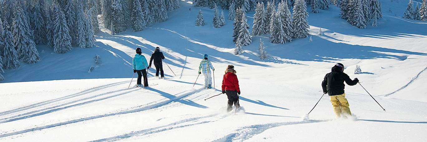 Guests on one of our guided ski holidays in Les Gets