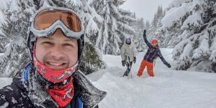 Skiers on a solo ski holiday