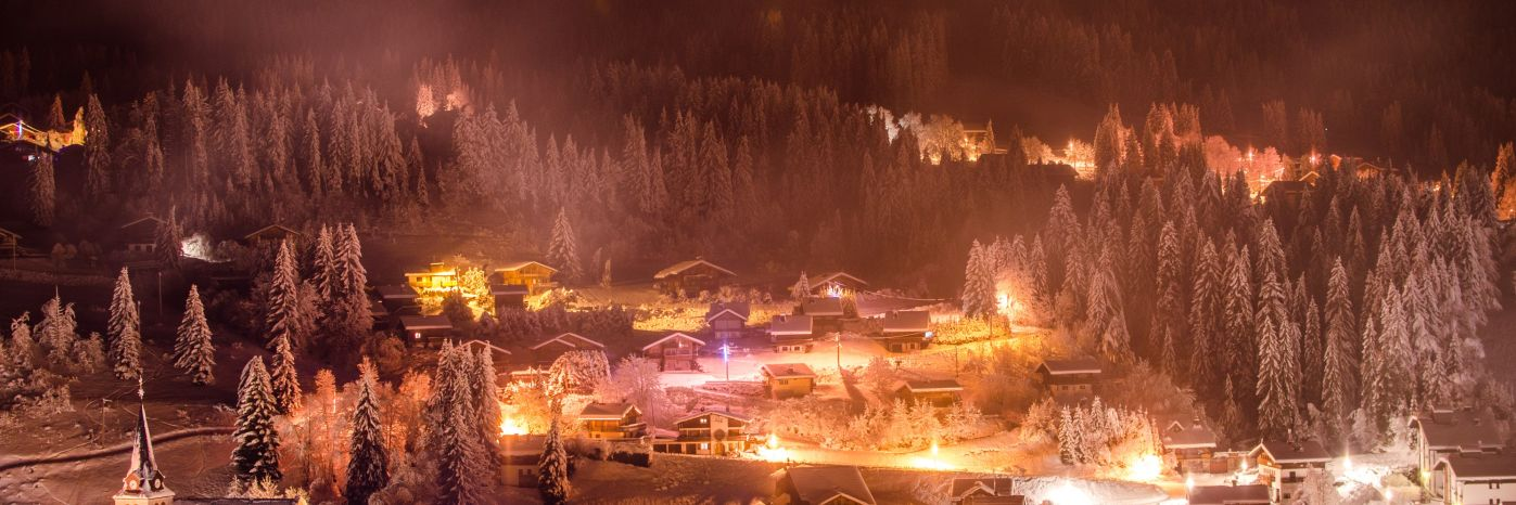 An amazing ski resort in mountains during a Christmas ski holiday 2020
