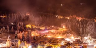 An amazing ski resort in mountains during a Christmas skiing holiday