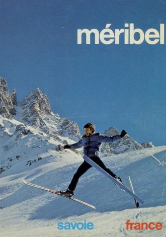 Modern photo/retro style poster of Meribel, France