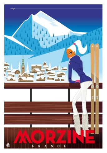 Morzine Cartoon Poster