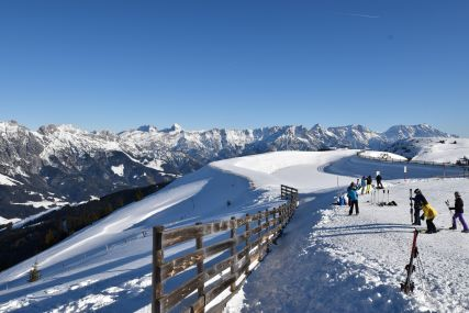 A view of Saalbach Hinterglemm Ski resort and valley