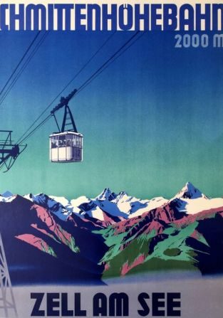 Art Deco Poster, Zell am See Cable Car