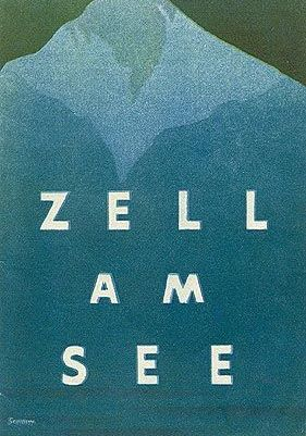 A painted poster of Zell Am See ski resort