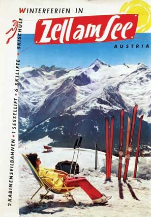 An old poster of Zell Am See ski resort