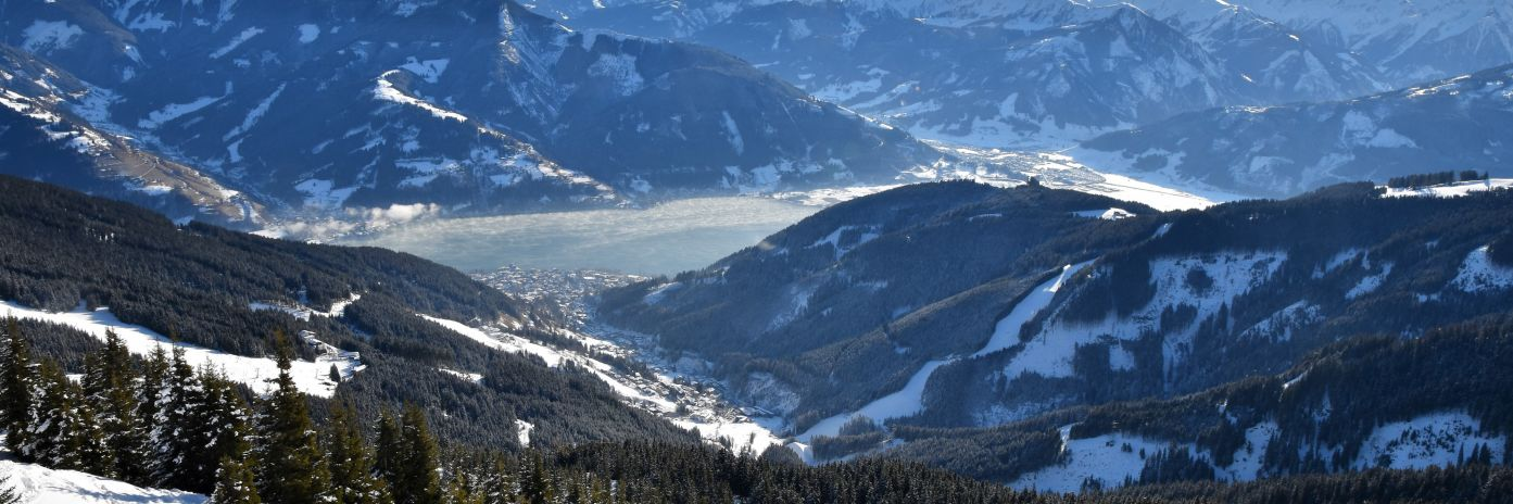 Spectacular views of the Town and lake of Zell Am See taken from the mountain