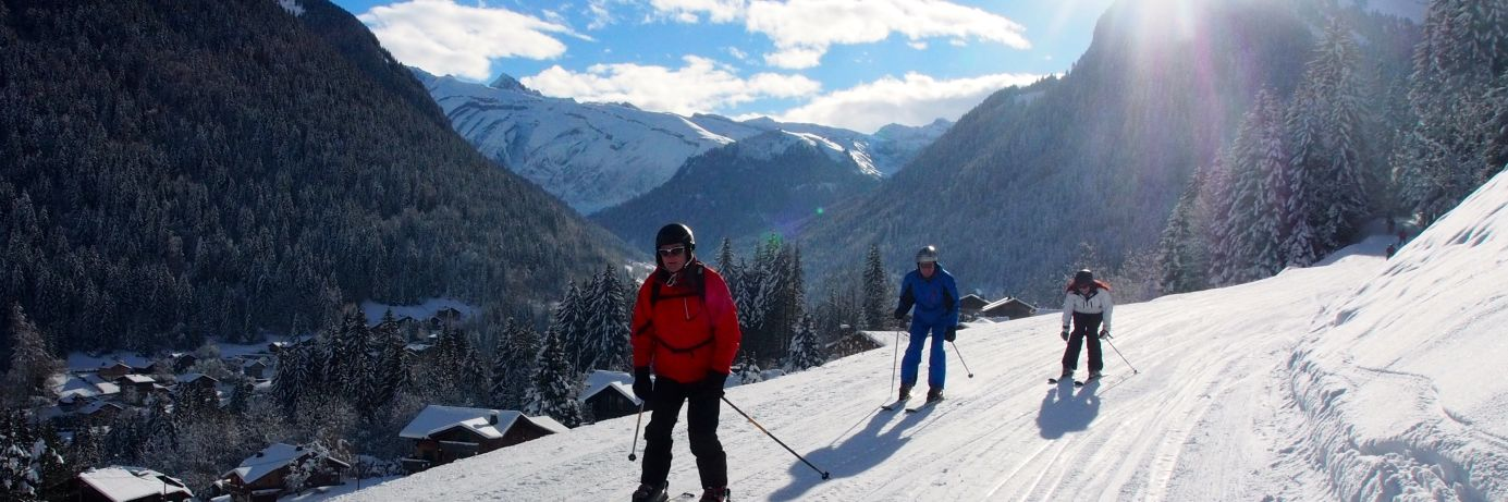 Skiers learning to ski on one of our Skiing Holidays for Beginners