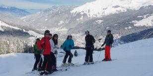 Group members on a singles ski holiday