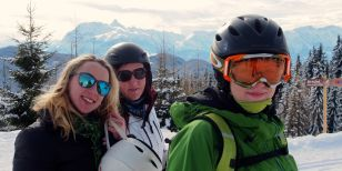 Three friends on a small group and couples ski holiday